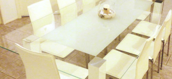 Glass Centre Frosted Table