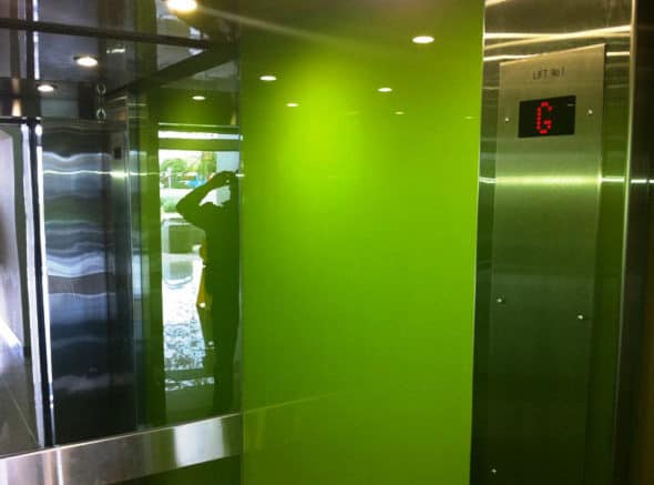 Elevator Coloured Glass